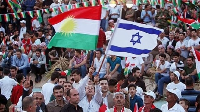 Erbil'de düzenlenen kutlamalarda İsrail bayrakları dalgalandı.