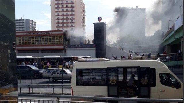 Şirinevler metrosunda yangın çıktı.