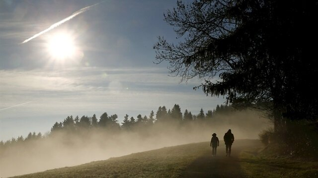 People walk along a forest as the sun shines over fog near Albis Pass mountain pass, Switzerland in this November 12, 2015 file picture.