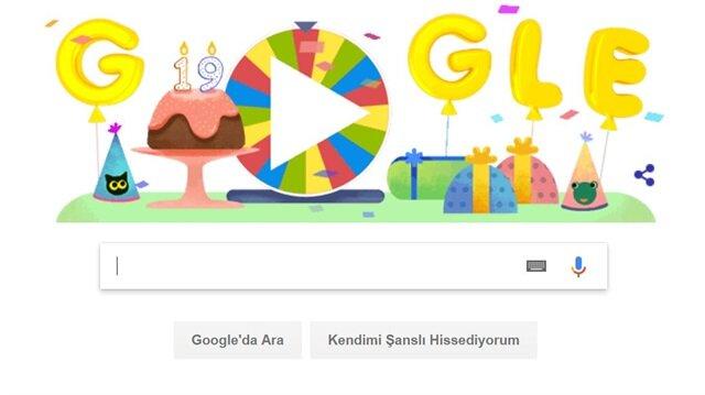 Google'ın 18. yaş günü Doodle'ı