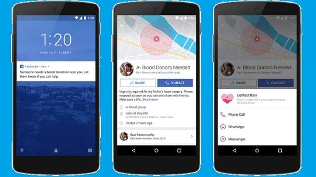 Facebook'un yeni kan bağışı sistemi 1 Ekim'de Hindistan'da aktif olacak.