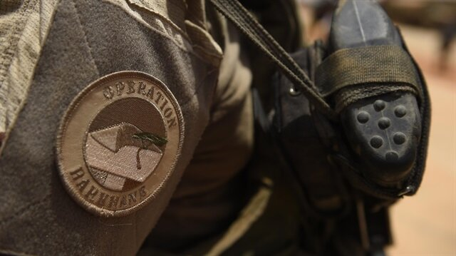 A close-up of the France's Barkhane operation patch worn by French troops in Africa