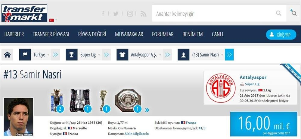 Samir Nasri transfermarkt değerlerine göre Süper Lig'in en pahalı oyuncusu durumunda.