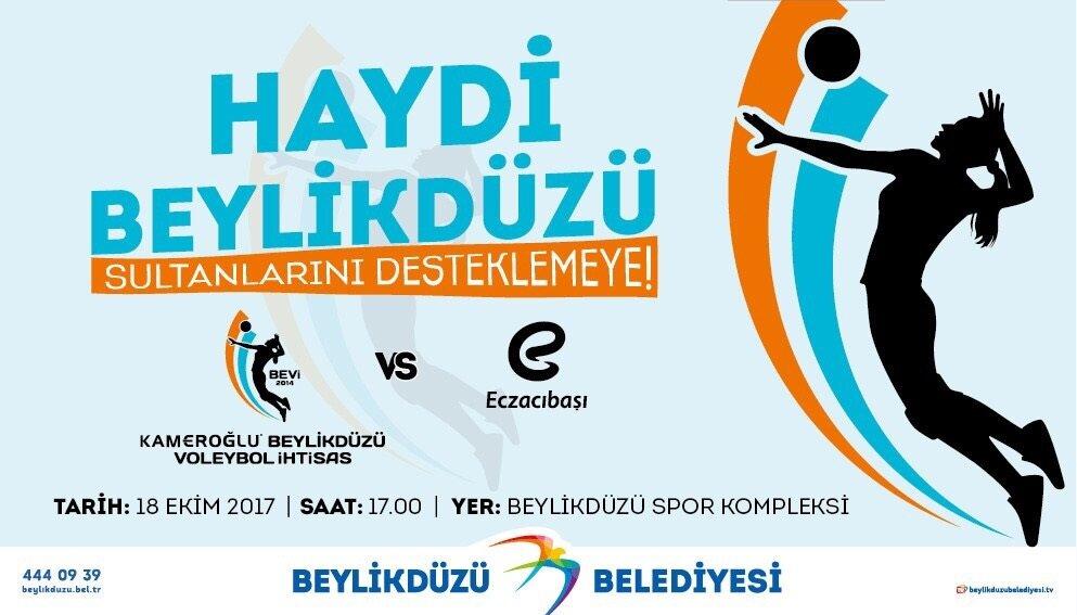 Beylikdüzü Belediyesi'nin 18 Ekim'deki maçla ilgili afişi.