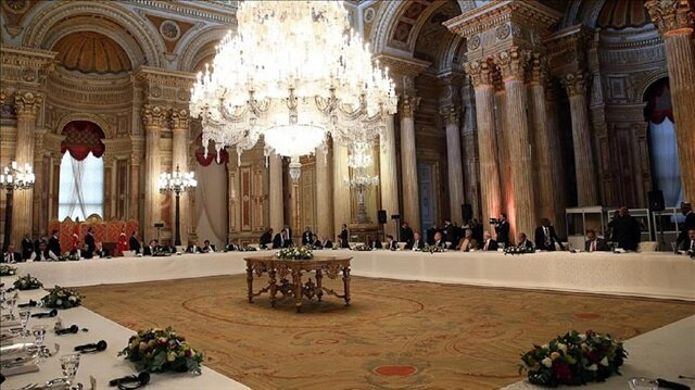A general view of a dinner is seen hosted by President of Turkey, Recep Tayyip Erdoğan in honour of 9th D-8 Organization for Economic Cooperation Summit attendants at Dolmabahçe Palace in Istanbul, Turkey on October 20, 2017.