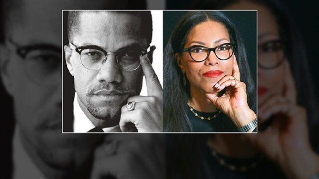 Malcolm X (L) and his daughter Ilyasah Shabazz (R).