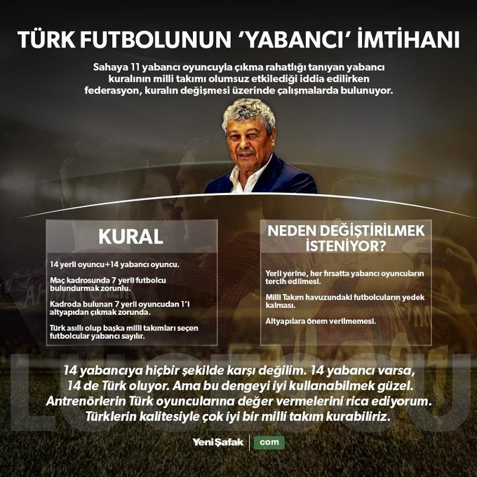 Türk futbolunun yabancı sorununa dair Lucescu, TRT yayınında bu sözleri sarfetmişti.
