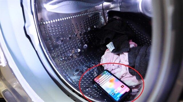 iPhone X'i çamaşır makinesinde yıkadı