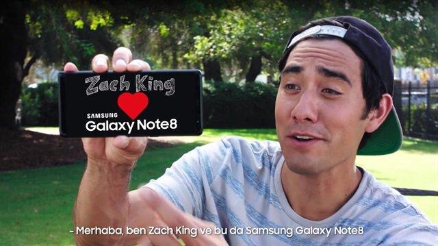Ünlü Vine illüzyonisti Zach King, Note 8 reklamının yeni yüzü oldu.