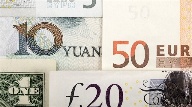 Arrangement of various world currencies including Chinese Yuan, US Dollar, Euro