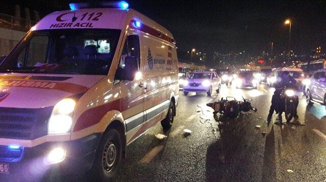 Haliç Köprüsü çıkışında motor kazası: 2 yaralı
