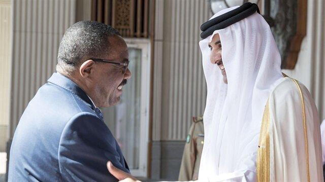 Etiyopya Başbakanı Haile Mariam Dessalines ve Katar Emiri Şeyh Temim bin Hamed