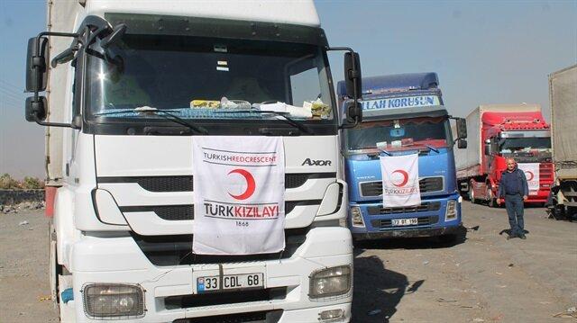 Türk Kızılayının 18 tırlık yardımı Erbil Ve Süleymaniye'ye ulaştı.