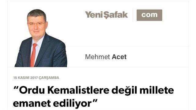 """""""Ordu Kemalistlere değil millete emanet ediliyor"""""""