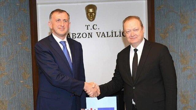 Chairman of the Georgian Government of the Autonomous Republic of Adjara Zurab Pataradze (L) visits Trabzon governor Yucel Yavuz (R)