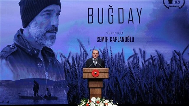 "President of Turkey Recep Tayyip Erdoğan delivers a speech during the gala of the movie ""Grain"" directed by Turkish director Semih Kaplanoglu at the Bestepe National Congress and Culture Center in Ankara, Turkey"