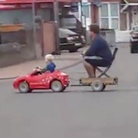 Çocuğunun akülü aracıyla böyle gezdi