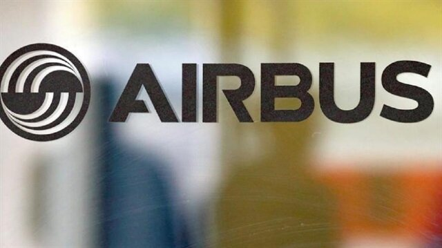 The logo of Airbus is pictured at the company's headquarters in Colomiers near Toulouse, France