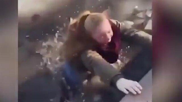 Donmuş göle böyle düştü