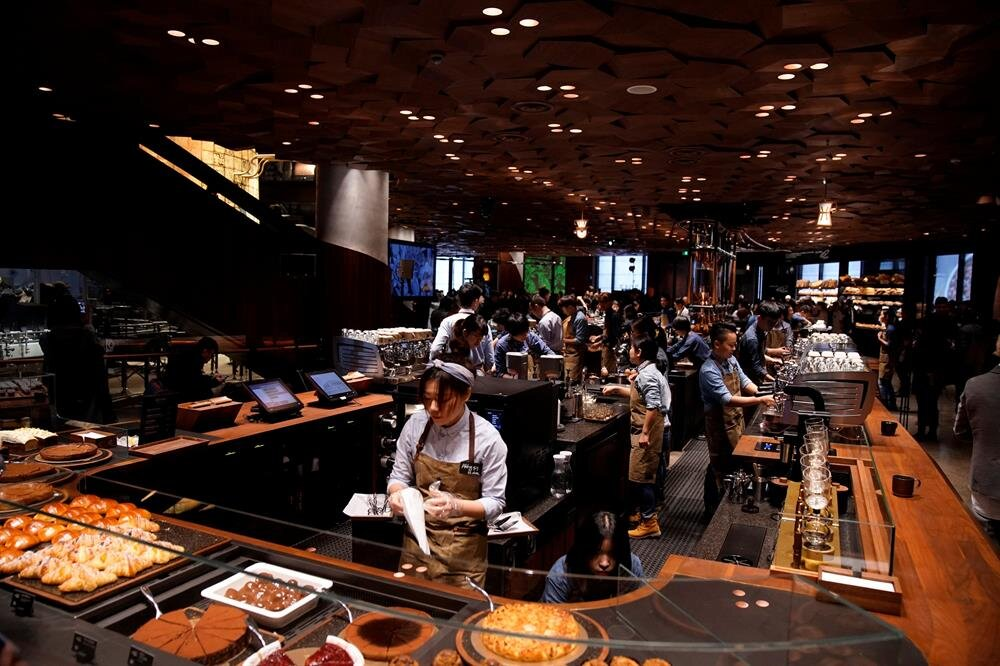 A view of the new Starbucks Reserve Roastery during a press conference in Shanghai