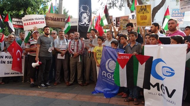Antalya'da Kudüs protestosu