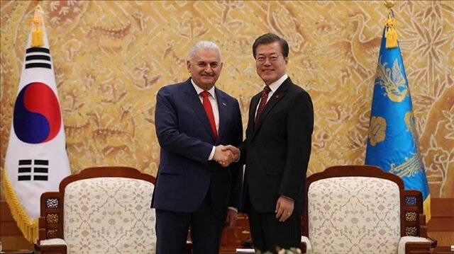Prime Minister of Turkey, Binali Yildirim (L) meets with President of South Korea, Moon Jae-in (R) in Seoul, South Korea