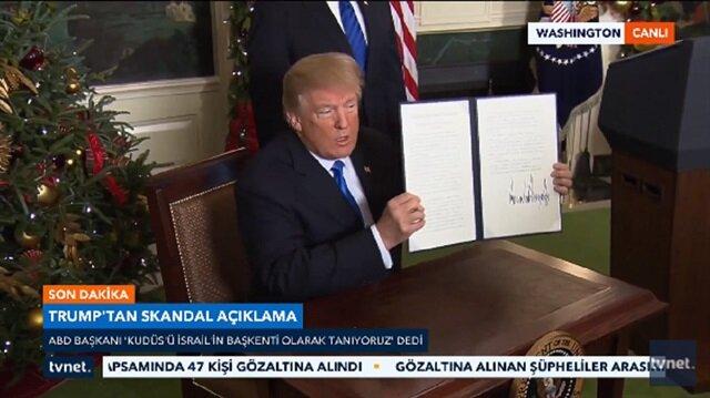 Son dakika haber: Trump, Kudüs'ü İsrail'in başkenti olarak tanıdı!