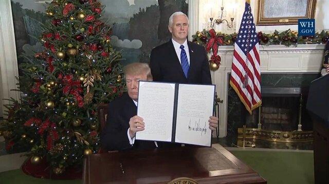 ABD Başkanı Donald Trump, işgalci İsrail kararını imzaladı.