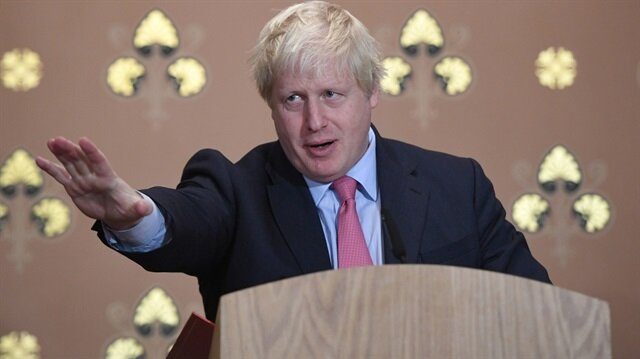 Britain's Foreign Secretary Boris Johnson gives a speech at the Foreign Office in London