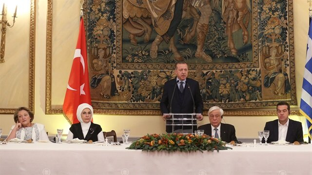 Cumhurbaşkanı Erdoğan, onuruna verilen akşam yemeğinde konuştu.