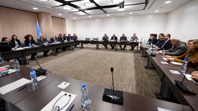 A general view of a meeting of Intra-Syria peace talks in Geneva