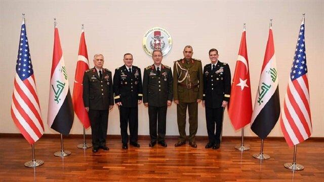 Orgeneral Akar, Iraklı mevkidaşı Ganim ve ABD'li generallerle bir araya geldi