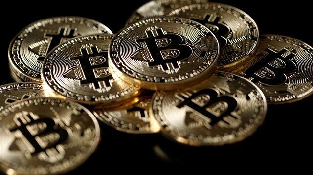 Dijital para birimi Bitcoin'in temsili sikkesi.