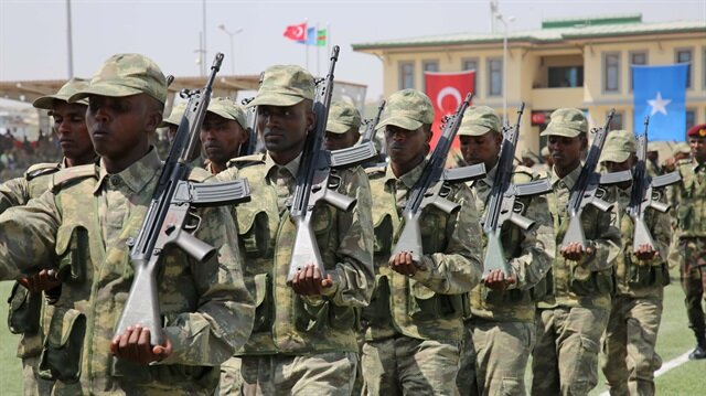 Somalian based Turkish military training academy's first graduate soldiers