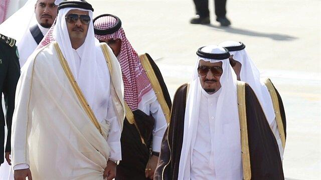 Katar Emiri Temim bin Hamad El-Sani ve Suudi Arabistan Kralı Selman bin Abdülaziz