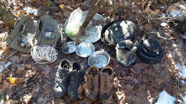Terör örgütü PKK'ya ait yaşam malzemeleri