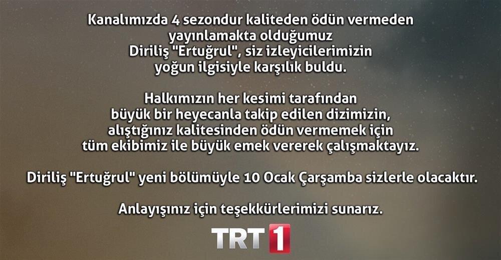 TRT'den yapılan açıklama