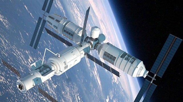 Tiangong-1 uzay istasyonunun 3 boyutlu modeli.