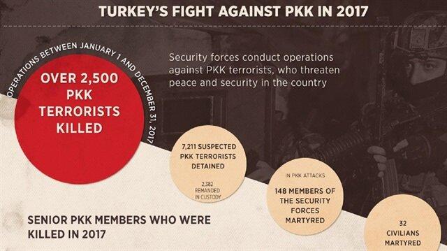 Over 2,500 PKK terrorists neutralized in Turkey in 2017