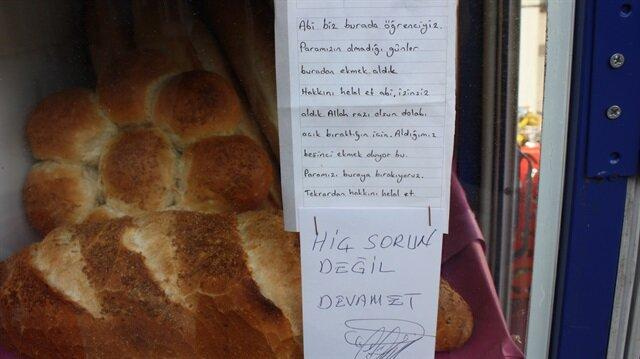 İzinsiz aldıkları ekmeklerin parasını bırakıp helallik istediler