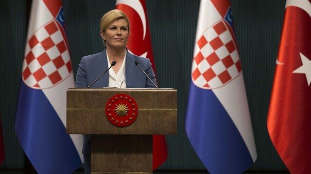الرئيسة الكرواتية تشيد بوقوف تركيا إلى جانب بلادها في أصعب الظروف
