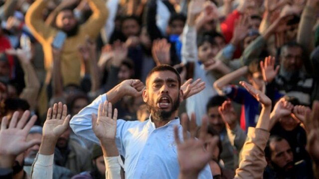A supporter of the Islamic charity organisation, Jamaat-ud-Dawa (JuD), chants slogans as he attends a rally with others against U.S. President Donald Trump's decision to recognise Jerusalem as the capital of Israel, in Lahore, Pakistan