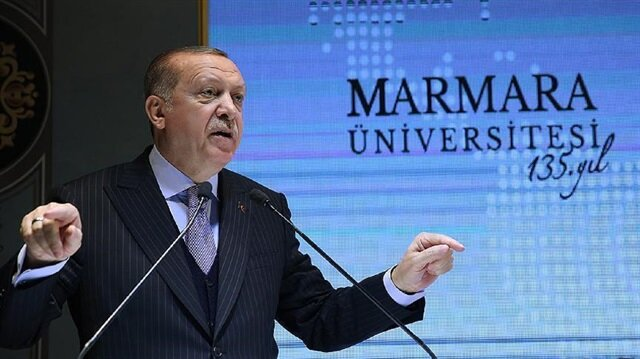 Turkish President Recep Tayyip Erdoğan speaking at Marmara University complex n Istanbul in January 12, 2018