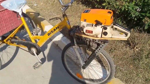 Bisiklete testere motoru taktı!