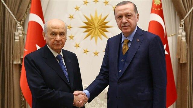 MHP Genel Başkanı Devlet Bahçeli ile Cumhurbaşkanı Recep Tayyip Erdoğan