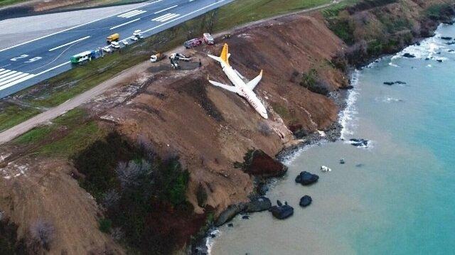 Trabzon'da pisten çıkan uçak havadan görüntülendi
