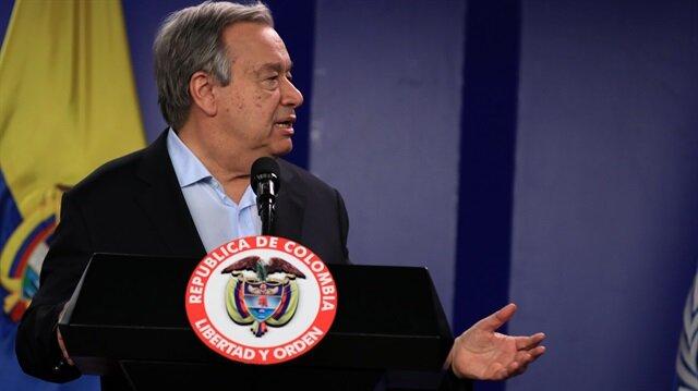 Santos ve Guterres'in buluşmasına hükümetin ELN ile görüşmelerindeki Başmüzakereci Gustavo Bell de katıldı.