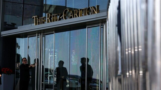 An entrance to Ritz-Carlton Hotel at International Commerce Centre, where the bodies of a woman and a boy were found and a man arrested, in Hong Kong January 14, 2018.
