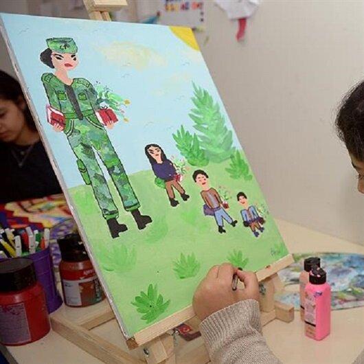 Savaş mağduru çocuklar hayallerini tuvale resmetti