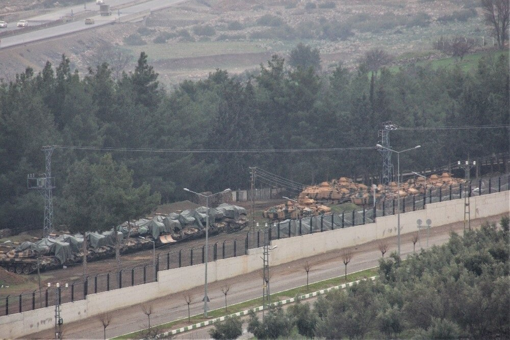 Tanks and armoured vehicles transferred to the 1st Border Troops in Hassa, in Turkey's Hatay province